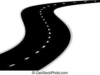 Road turn - A winding road with road markings. The road ...