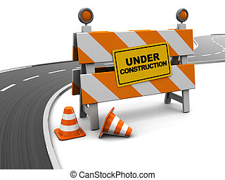 road under construction - 3d illustration of under ...