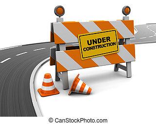 road under construction - 3d illustration of under ...
