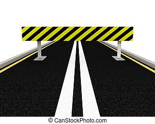 Road under construction. 3D image