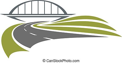 Road passes under the railway bridge with green roadsides, isolated on white background, for transportation or car trip design