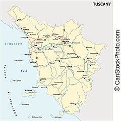 Road vector map of the Italian region Tuscany