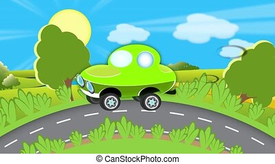 road - green car were met on road