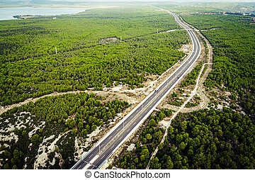 Road view from above - View of the highway car road through ...