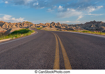 Road Winds Through Badlands