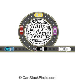 Road with a marking. Cars. Greeting inscription Happy New Year . illustration