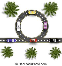 Road with a marking. Cars. Realistic tree top view. illustration