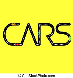 Road with automobiles in the form of word 'Cars'