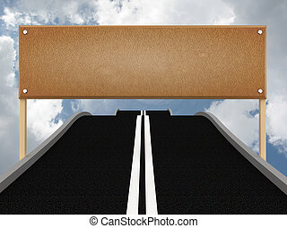 Road with blank billboard and sky. 3D