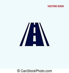 road with broken line vector icon