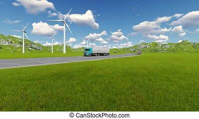 Road with car truck lorries moving both directions and wind turbine
