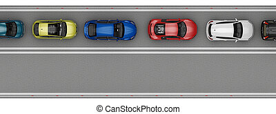 road with cars in one lane top view. 3d rendering