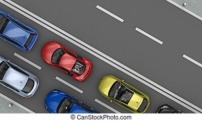 road with cars in one lane top view - road with traffic cars...