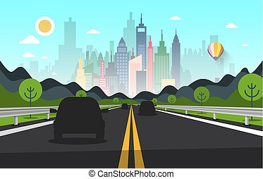 Road with Cars Silhouettes and City on Backgroud - Vector
