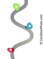 Road with colorful pinpointer. 3d illustration