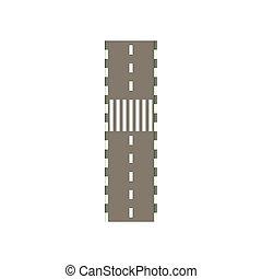 Road with crosswalk icon, cartoon style