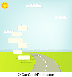 road with direction sign and clouds
