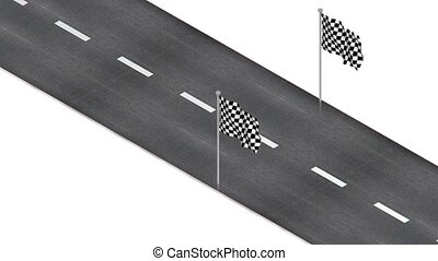 Road with flag - part of isometric collections of animated...