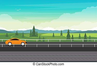 Road with Railway Railroad Transportation Train Nature View Landscape Illustration