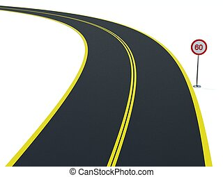 Road with traffic sign on white background