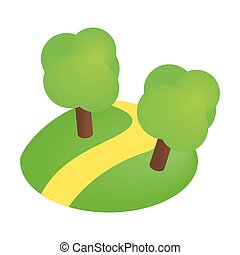 Road with trees 3d isometric icon