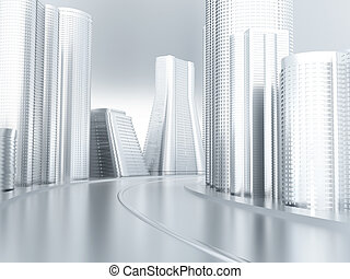 Road with turn in an environment of modern buildings and...