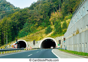 Road with underpass tunnel in Slovenia