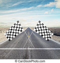 Two Checker Flags Crossed - road with yellow arrow with Two ...