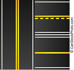 Set of road with yellow marking background