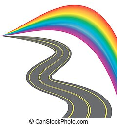 Road with yellow markings, receding into the distance. Colorful stylized rainbow. illustration
