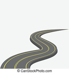 Road with yellow markings receding into the distance. 3d. illustration