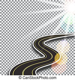 Road with yellow markings, receding into the distance. Abstract 3d. Sunlight. illustration