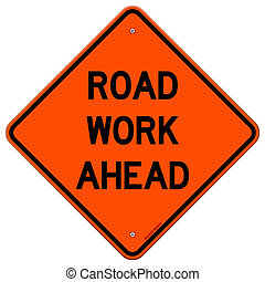 Road Work Ahead Sign - American road sign isolated on white...