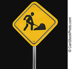 Road work sign. Image with clipping