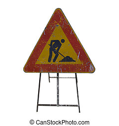 Road work sign isolated