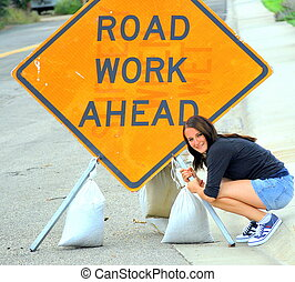 Road work sign. - Road work sign ahead sign displayed ...