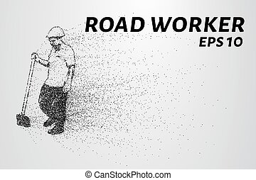 Road worker of the particles. Worker standing with a shovel. Worker consists of small circles. Vector illustration