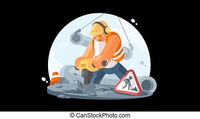 Road worker with puncher - Road worker wearing in helmet...