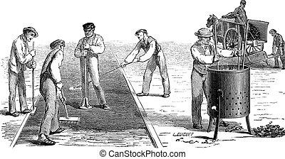 Road workers doing asphalt vintage engraving - Old engraved ...