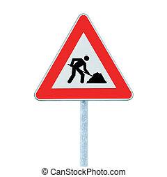 road works, adelante, advertencia, muestra del camino, con, poste, aislado