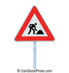 Road Works Ahead Warning Road Sign With Pole isolated - Road...