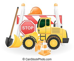 road works concept icons vector illustration isolated on...
