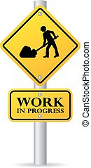 Road works in progress sign isolated on white background