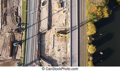 Road works sand machines drone aerial view top down sand ...