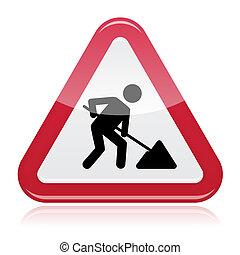road works, señal, bajo construcción