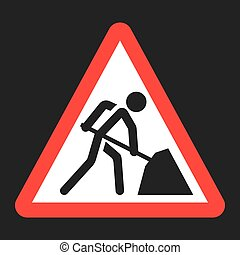 Road works sign flat icon