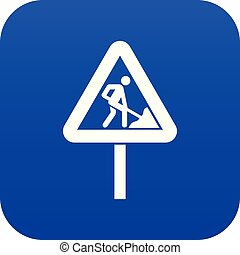 Road works sign icon digital blue