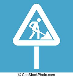 Road works sign icon white