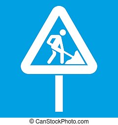 Road works sign icon white isolated on blue background...