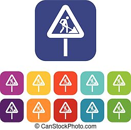 Road works sign icons set
